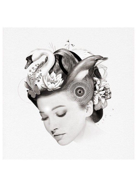 Brain Print - Woman Portrait - Hair with Swan, Dolphin and Flowers - Feminine Chakras and Meditation Inspired - Third Eye and Zen Concept