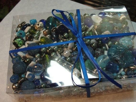 BEADS BLUE Destash Lot  Assorted Silvertone White Glass Plastic Metal Bulk 3 lbs