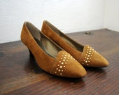 Reserved for  Fazila Dean//Vintage RUSSET & GOLD Suede Studded Pump Size 7.5- SALE Was 24.00, now 20.00