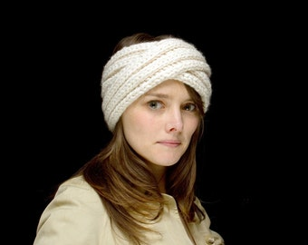 Hand Knit MARTA TURBAN in Cream / 10 Colors Available