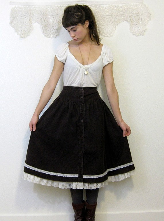 Vintage 1970s BROWN CORDUROY Prairie Skirt Size S