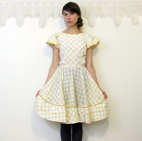 Vintage 1970's Marigold and White Square Dance\/Dolly Dress Size S