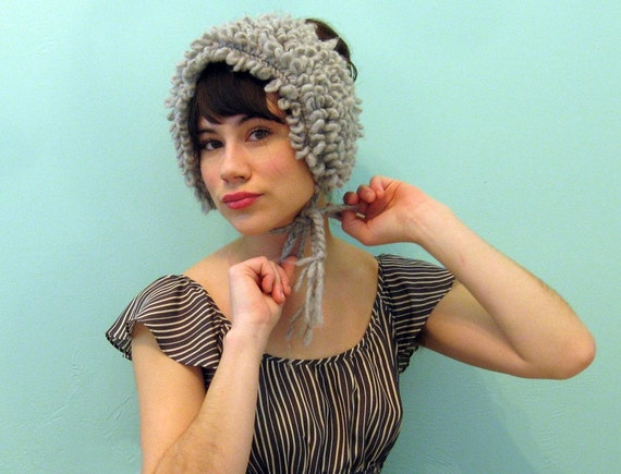 Hand Knit LOOP STITCH Ear Warmer/Collar in SMOKE / 3 Colors Available