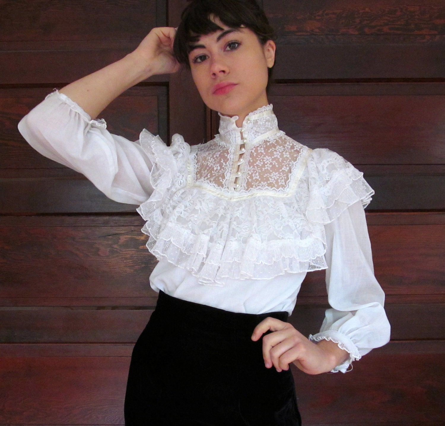 White Victorian High Neck Blouse 54