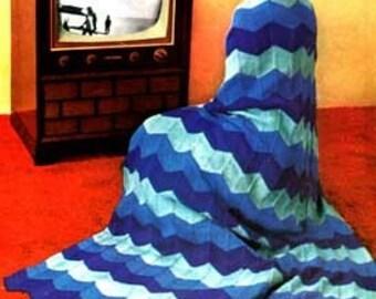 Rippled Afghan Knitting Pattern PDF Instant Dopwnload