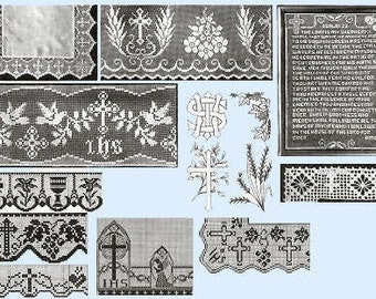 14 Vintage Church Laces In Filet Crochet For Altar or Alb Edging Pattern PDF Instant Download