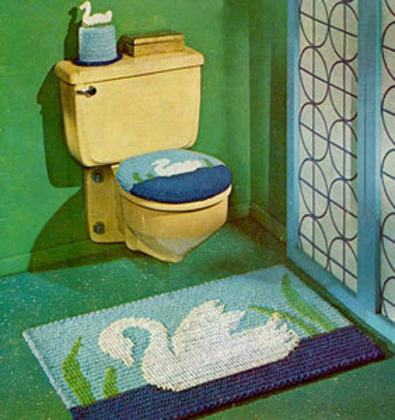 Items Similar To Swan Bathroom Set Swan Rug Tissue Cover