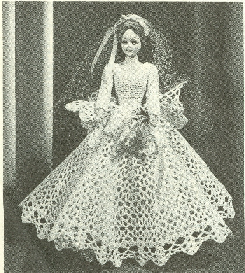 Fashion doll bride doll wedding dress crochet pattern pdf for Crochet wedding dress patterns