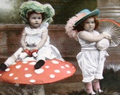 Hand Tinted RPPC of 2 Children With Mushrooms