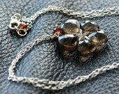 Blooming - Smokey Quartz, Garnet and Sterling Silver Necklace
