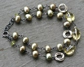 Sage And Time - Amethyst, Freshwater Pearl, Peridot and Oxidized Sterling Silver Bracelet
