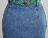 80s Calvin Klein High Waist Jean Skirt Mini - XS