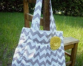 NEW, The Holly... GrAy ChEvRoN with YeLLoW rosette,  pleated purse...... FREE SHIPPING