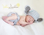 Crochet Baby Elephant Hat and Diaper Cover Set - Crochet Newborn Photography Prop - Baby Costume - Baby girl or boy - Size Newborn