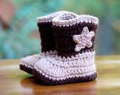Crochet Baby Cowboy Boots - Brown - Baby Booties - Size newborn or 0-3 mos
