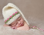 Tulips Stocking Cap with Tassel - Crochet Baby Hat - Baby Girl Hat - Crochet Photography Prop - Size Newborn
