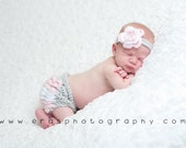 Ruffle Diaper Cover with Matching Flower Headband - Crochet Baby Bloomers - Newborn Photography Prop - Pink, Grey, and White - Size Newborn