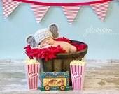 Elephant Hat  - Crochet Photography Prop - Baby Boy or Girl Crochet Baby Hat - size newborn, 3-6 mos