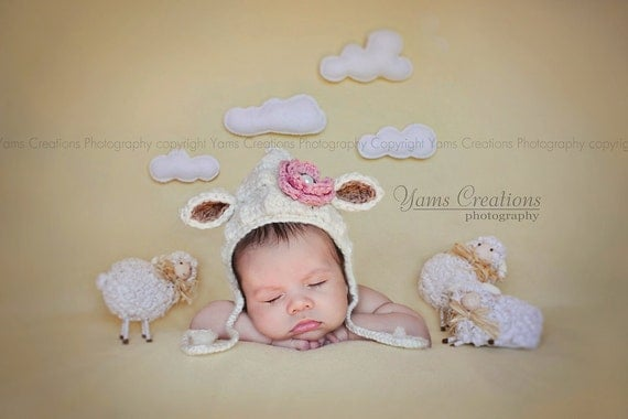 Lamb Bonnet Crochet Baby Hat - Gender Neutral - Crochet Photography Prop - Size Newborn