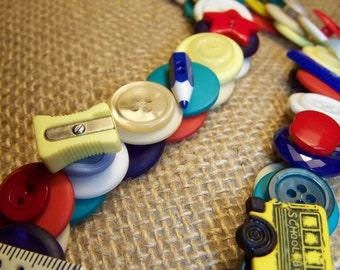 School Teacher Button Necklace