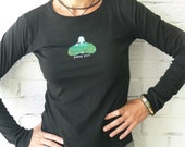 Women's Long Sleeve Shirt with Peace Out Buddha- X-LARGE