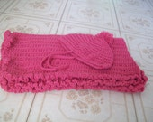 Rose Pink crocheted  baby blanket and hat set