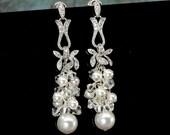 Pearl Bridal Earrings, Long Earring Pearl, Wedding Jewelry Bridal Earring, Ivory Pearl, White Pearl, Swarovski Earrings