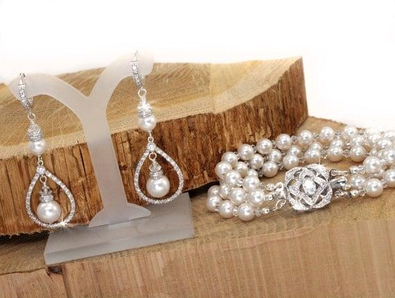 Pearl Bridal Jewelry, Pearl Jewelry Set, Pearl and Crystal Wedding Jewelry, Earring and Bracelet Set, Swarovski Jewelry