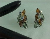 Amber and Grey Smoked Glass with AB rhinestones vintage Earrings