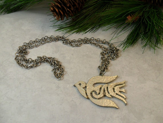 PEACE DOVE Pendant on Chain Silver Tone by BEACON