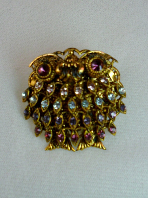 4 color Purple OWL Pin Broach Pendant West Germany