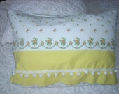 PILLOW SALE--Retro Pillow Covers, Made from Vintage Pillowcase, Yellow Floral, Cute Floral Design, Dingleballs, Selling Together