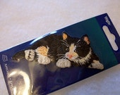Cat applique , Iron on Embroidered Applique