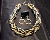 Braided Gold tone metal chain and leather Goth necklace set on SALE was 55 dolars  shoptillyoudropnow on etsy
