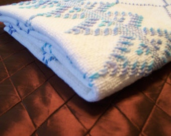 Monks Weaving Throw Blanket, Handmade Throw, Blue and White Blanket
