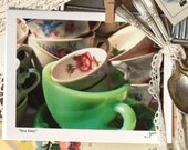 tea time - an original fine art note card- with lots of tea cups