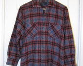 Men's Vintage Gray, Red and Black Plaid Wool Work Shirt