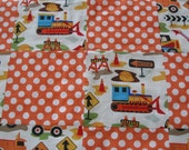 All Boy Patch-Quilted Construction Trucks and Dots in Bright Oranges