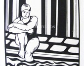 Original Artwork. Lithography. Swimmer. Black and White. Graphic. Mat Board included. Limited Edition, LE, 2010 by Amanda Marie Studios on etsy