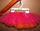 RESERVED for lisaorlandon - pink/orange glitter tutu - 3-6-months