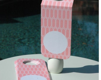Pink and White Wine Bottle/Gift Tags, Great for Packaging (Set of 12)