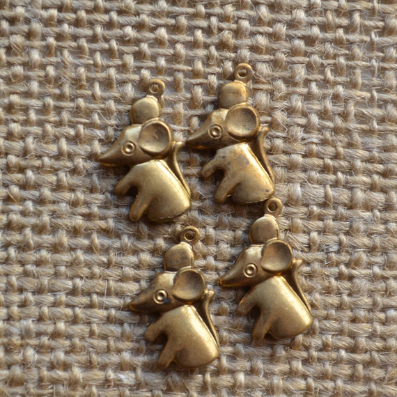 Set of 4 Tiny Vintage Mouse Charms