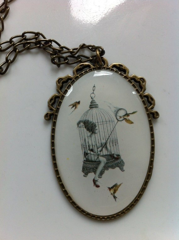 SALE - Girl in a Birdcage Cameo Pendant Necklace