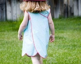 The Pretty Pinafore one piece PDF sewing pattern - see the one minute video tutorial on youtube -digital download-