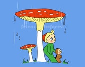 Little Gnome, Mushroom and Chipmunk Print