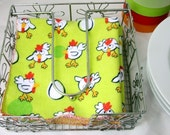 Cloth Table Napkins in Chickens and Eggs print on Lime Green - Reusable Washable  Everyday Flannel  - set of 4