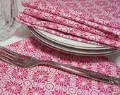 Dinner  Napkins - Rose Pink and White - EcoFriendly  Washable Reusable Cotton  - set of 4