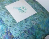 Pillow Cover  -  Hummingbird -  Turquoise Floral Batik - 1 - 16 inch square - Zipper closure