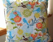 Hummingbirds and Floral Pillow Cover - 16 inch - Zipper closure