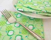 Cloth Napkins in Green Apple print - Reusable Everyday Flannel - set of 4